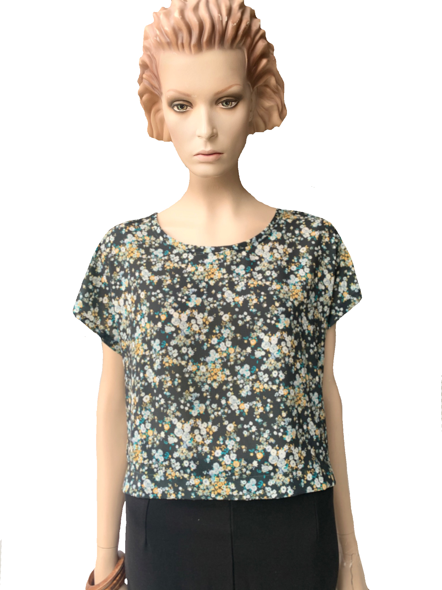 Shirt - woven print flower black