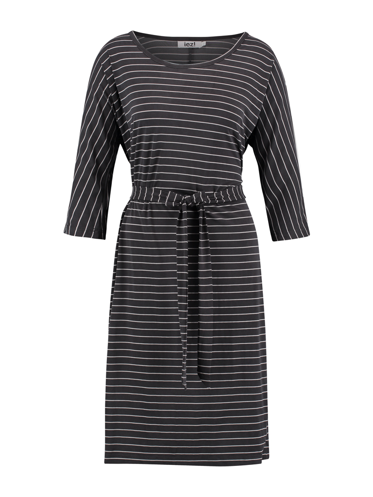 Dress long  - modal d.grey stripe