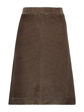 Skirt velvet stripe - Black/camel