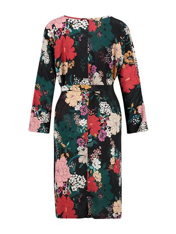 Dress  Long woven - Black flower